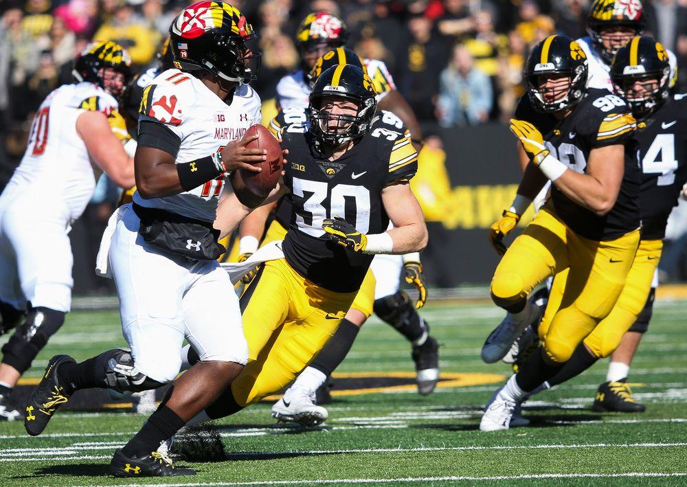 Iowa Hawkeyes defensive back Jake Gervase (30) rushes the quarterback during a game against Maryland at Kinnick Stadium on October 20, 2018. (Tork Mason/hawkeyesports.com)
