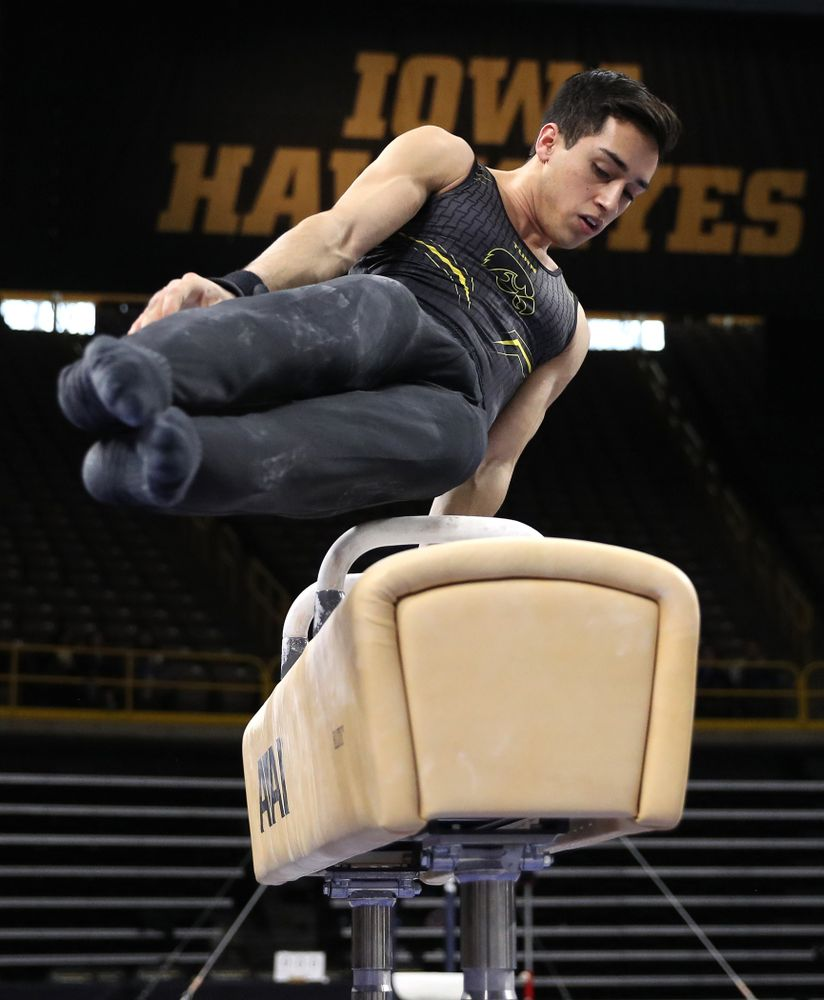 Iowa's Andrew Herrador competes on the Pommel Horse against Oklahoma Saturday, February 9, 2019 at Carver-Hawkeye Arena. (Brian Ray/hawkeyesports.com)