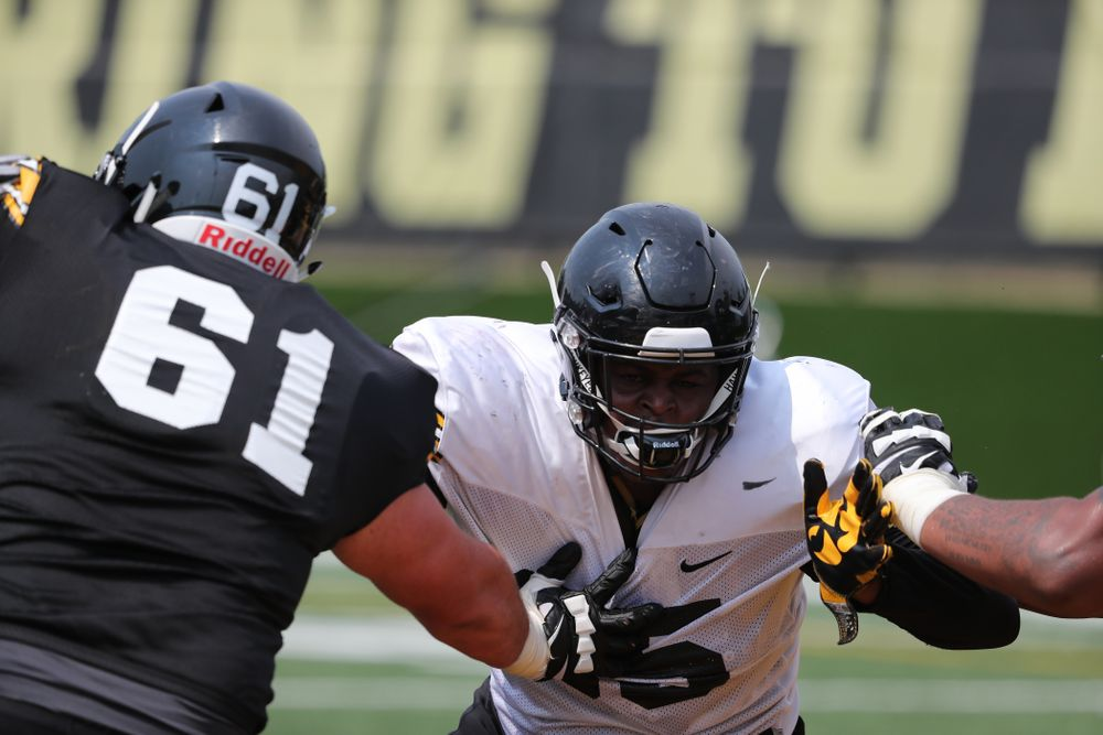 Iowa Hawkeyes defensive lineman Cedrick Lattimore (95) during the third practice of fall camp Sunday, August 5, 2018 at the Kenyon Football Practice Facility. (Brian Ray/hawkeyesports.com)