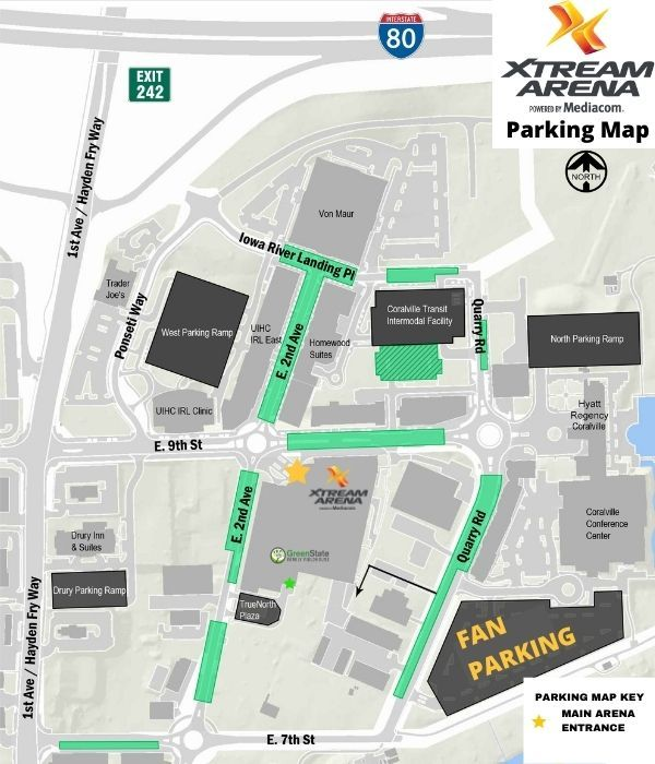 Parking Map for Xtream Arena