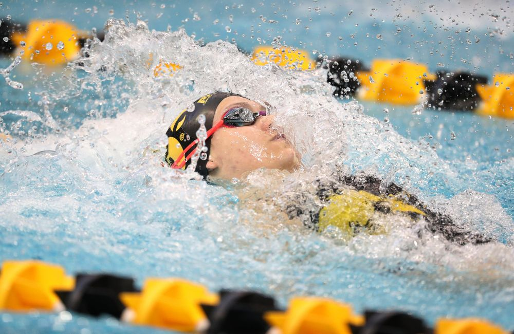 Iowa's Lauren McDougall swims the backstroke leg of the 200 yard medley relay during a double dual against Wisconsin and Northwestern Saturday, January 19, 2019 at the Campus Recreation and Wellness Center. (Brian Ray/hawkeyesports.com)