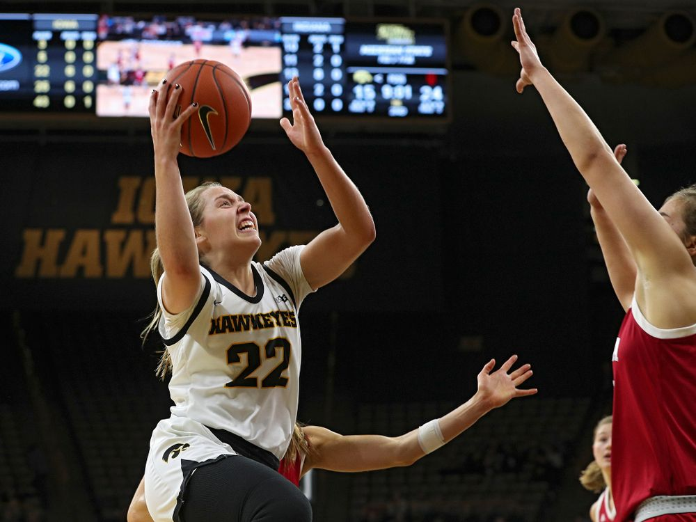 Iowa Hawkeyes guard Kathleen Doyle (22) scores during the second quarter of their game at Carver-Hawkeye Arena in Iowa City on Sunday, January 12, 2020. (Stephen Mally/hawkeyesports.com)