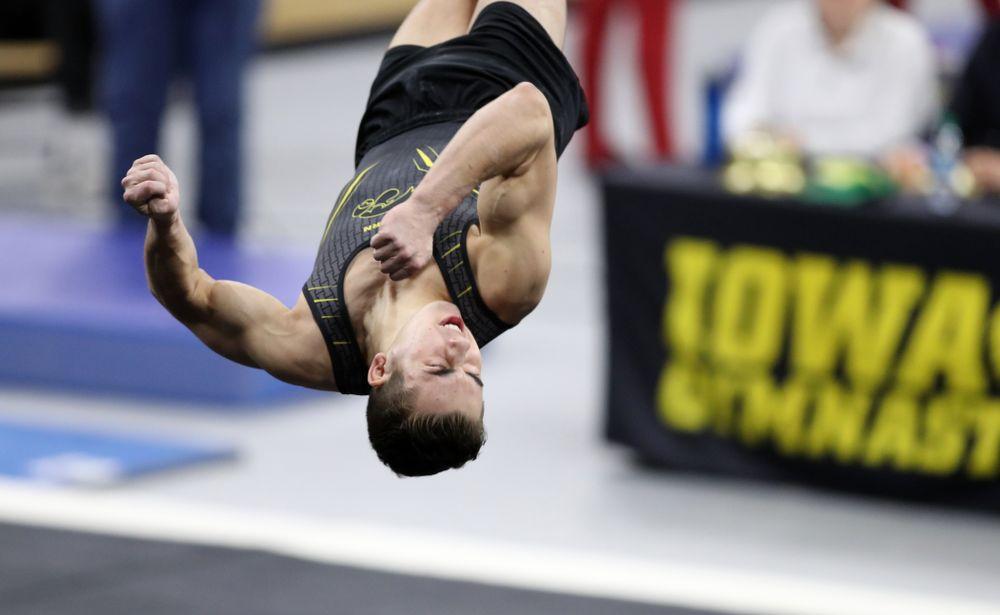Iowa's Noah Scigliano competes on the floor against Oklahoma Saturday, February 9, 2019 at Carver-Hawkeye Arena. (Brian Ray/hawkeyesports.com)