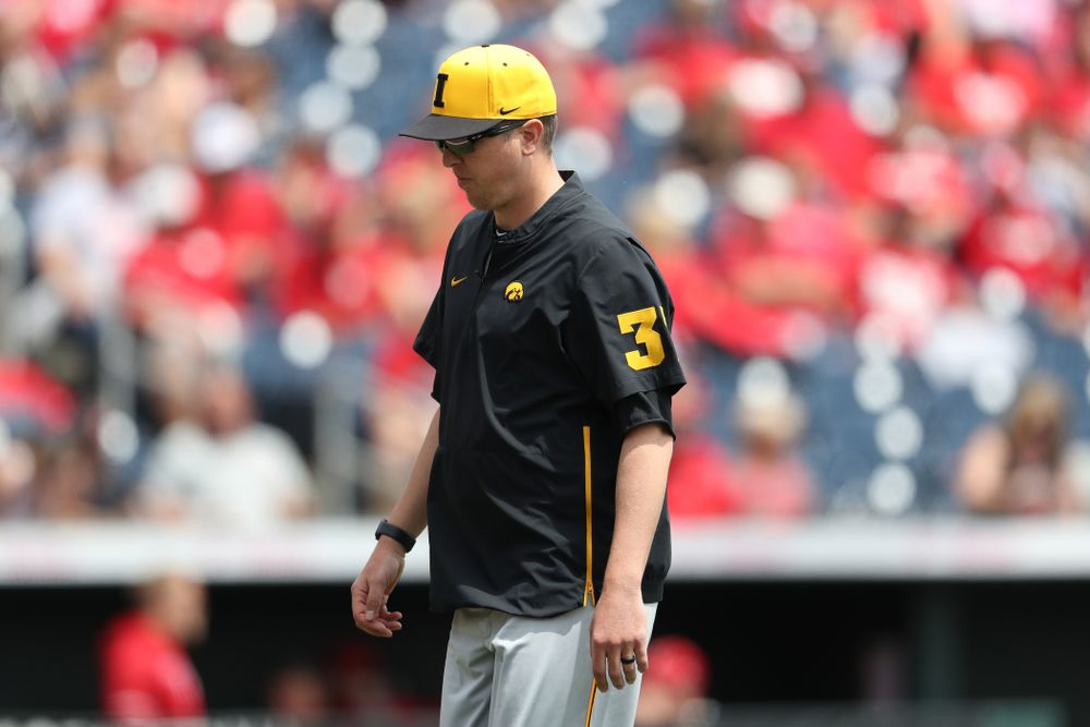 Pitching coach Tom Gorzelanny against the Nebraska Cornhuskers in the first round of the Big Ten Baseball Tournament Friday, May 24, 2019 at TD Ameritrade Park in Omaha, Neb. (Brian Ray/hawkeyesports.com)