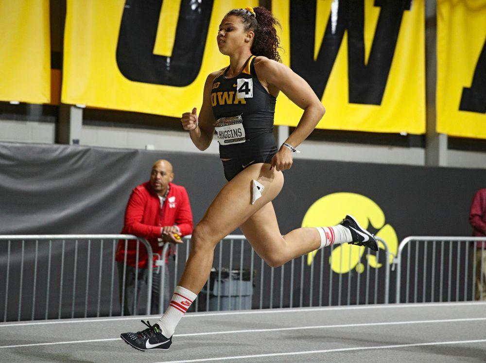 Iowa's Dallyssa Huggins runs the women's 600 meter run premier event during the Larry Wieczorek Invitational at the Recreation Building in Iowa City on Friday, January 17, 2020. (Stephen Mally/hawkeyesports.com)