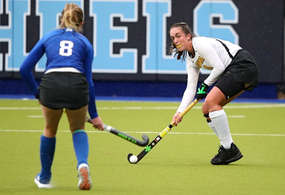 Iowa's Anthe Nijziel (6) looks to pass during the first quarter of their NCAA Tournament First Round match against Duke at Karen Shelton Stadium in Chapel Hill, N.C. on Friday, Nov 15, 2019. (Stephen Mally/hawkeyesports.com)
