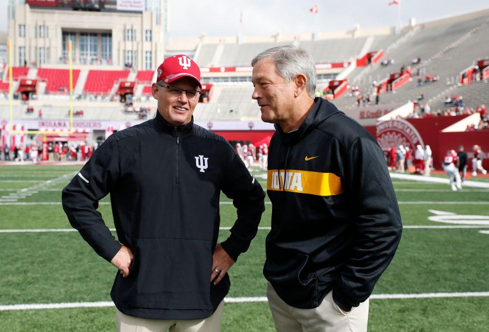 Iowa Hawkeyes head coach Kirk Ferentz and Indiana Hoosiers head coach Tom Allen Saturday, October 13, 2018 at Memorial Stadium, in Bloomington, Ind. (Brian Ray/hawkeyesports.com)