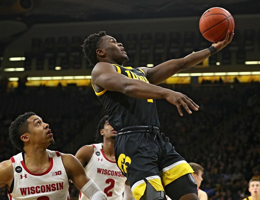 Iowa Hawkeyes guard Joe Toussaint (1) scores a basket during the first half of their game at Carver-Hawkeye Arena in Iowa City on Monday, January 27, 2020. (Stephen Mally/hawkeyesports.com)