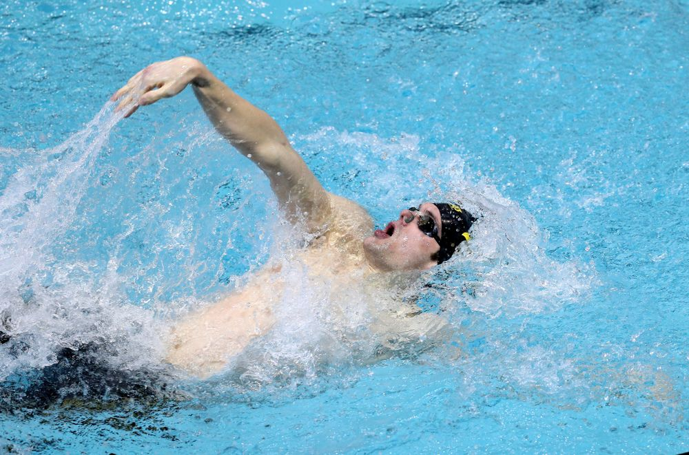 Iowa's Kenneth Mende competes in the 100-yard backstroke on the third day at the 2019 Big Ten Swimming and Diving Championships Thursday, February 28, 2019 at the Campus Wellness and Recreation Center. (Brian Ray/hawkeyesports.com)