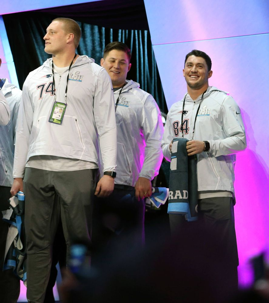 Cole Croston, James Ferentz, Riley McCarron of the New England Patriots