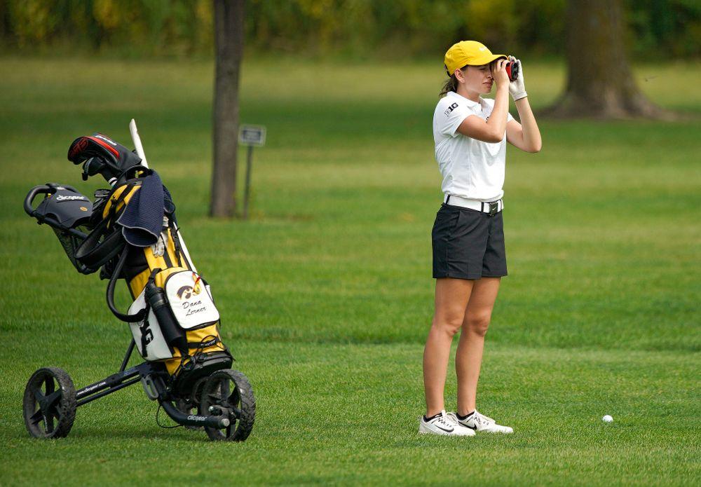 Iowa's Dana Lerner uses a rangefinder during their dual against Northern Iowa at Pheasant Ridge Golf Course in Cedar Falls on Monday, Sep 2, 2019. (Stephen Mally/hawkeyesports.com)