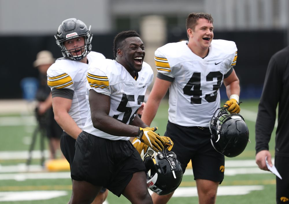 Iowa Hawkeyes linebacker Amani Jones (52) and linebacker Dillon Doyle (43) during practice No. 4 of Fall Camp Monday, August 6, 2018 at the Hansen Football Performance Center. (Brian Ray/hawkeyesports.com)