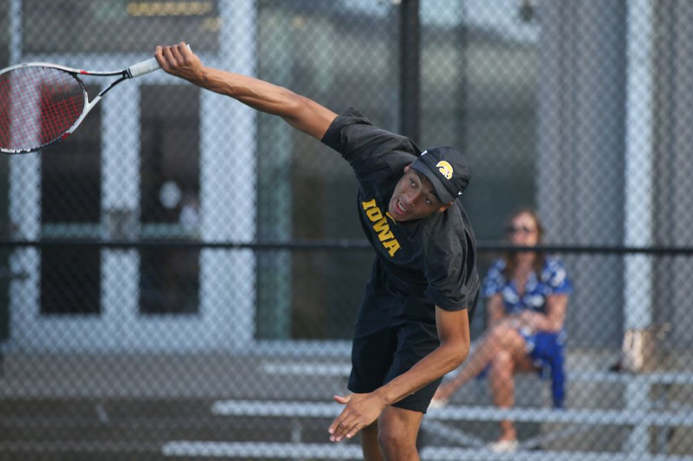 IowaÕs Oliver Okonkwo at tennis vs Illinois State on Sunday, April 21, 2019 at the Hawkeye Tennis and Recreation Complex. (Lily Smith/hawkeyesports.com)