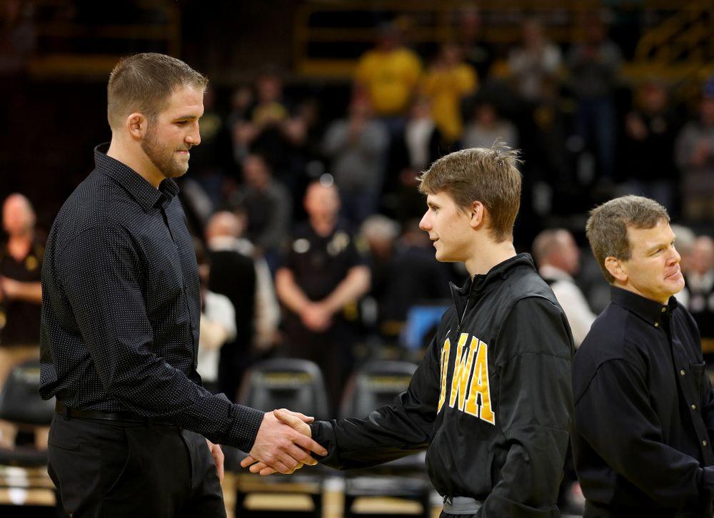 Iowa's Aaron Meyer during senior day activities Sunday, February 23, 2020 at Carver-Hawkeye Arena. (Brian Ray/hawkeyesports.com)