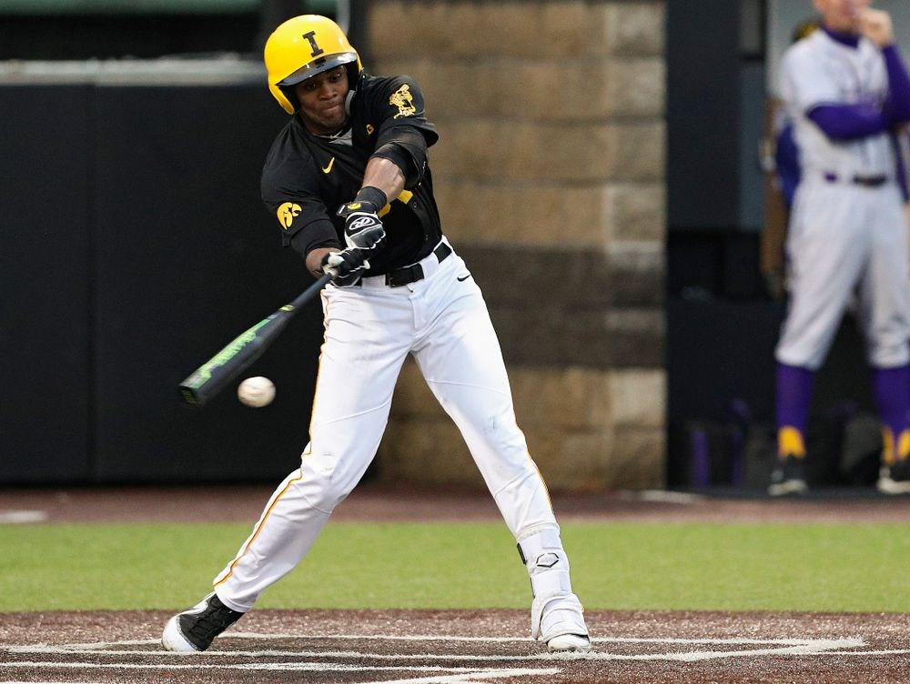 Iowa Hawkeyes third baseman Lorenzo Elion (1) drives in a run during the fourth inning of their game against Western Illinois at Duane Banks Field in Iowa City on Wednesday, May. 1, 2019. (Stephen Mally/hawkeyesports.com)