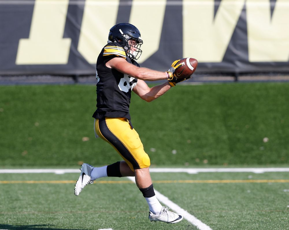 Iowa Hawkeyes wide receiver Nick Easley (84) during camp practice No. 17 Wednesday, August 22, 2018 at the Kenyon Football Practice Facility. (Brian Ray/hawkeyesports.com)