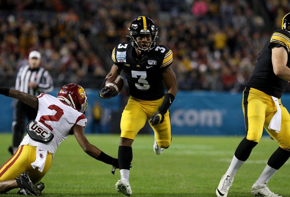 Iowa Hawkeyes wide receiver Tyrone Tracy Jr. (3) against USC in the Holiday Bowl Friday, December 27, 2019 at San Diego Community Credit Union Stadium.  (Brian Ray/hawkeyesports.com)