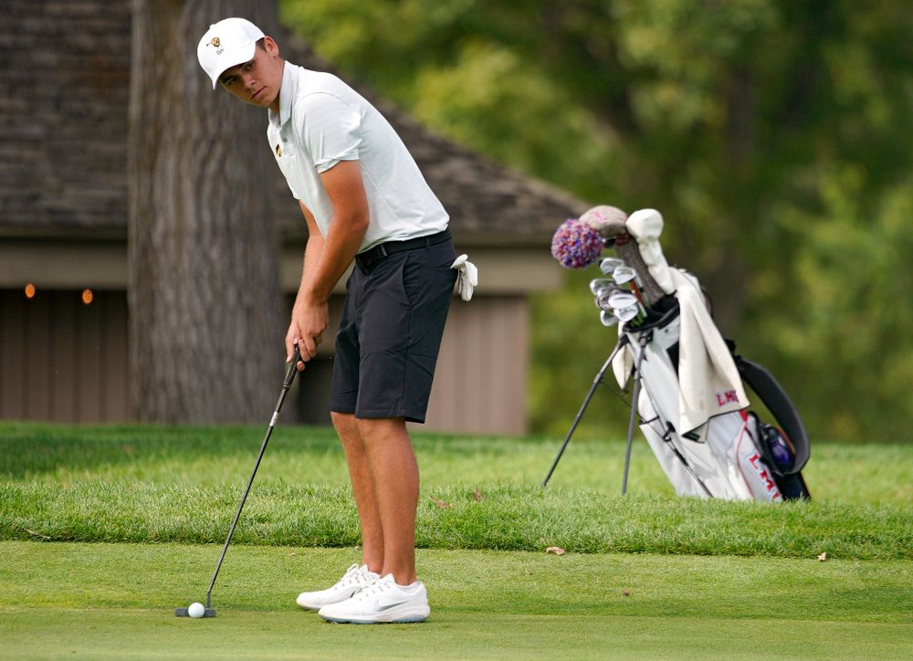 Iowa's Garrett Tighe lines up a putt during the second day of the Golfweek Conference Challenge at the Cedar Rapids Country Club in Cedar Rapids on Monday, Sep 16, 2019. (Stephen Mally/hawkeyesports.com)