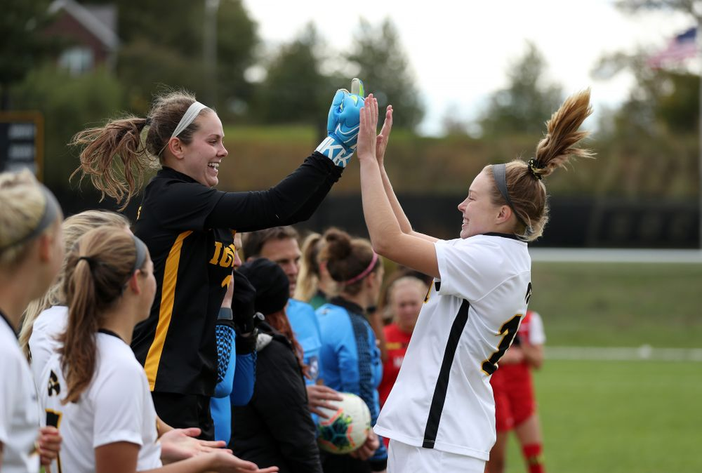Iowa Hawkeyes goalkeeper Claire Graves (1) and midfielder/defender Natalie Winters (10) against the Maryland Terrapins Sunday, October 13, 2019 on senior day. (Brian Ray/hawkeyesports.com)