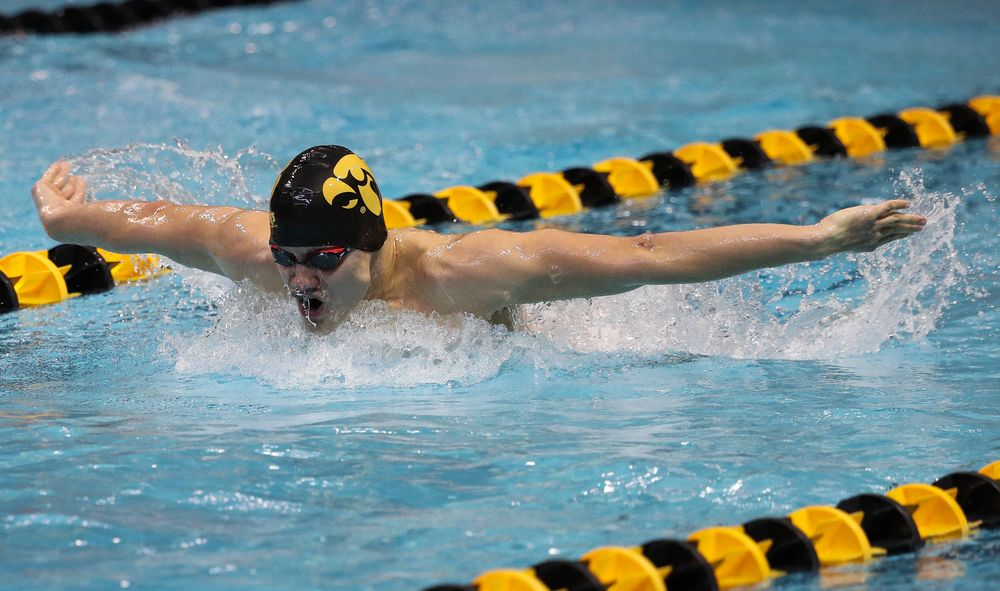 Iowa's Anze Fers Erzen competes in the 400-yard individual medley during a meet against Michigan and Denver at the Campus Recreation and Wellness Center on November 3, 2018. (Tork Mason/hawkeyesports.com)
