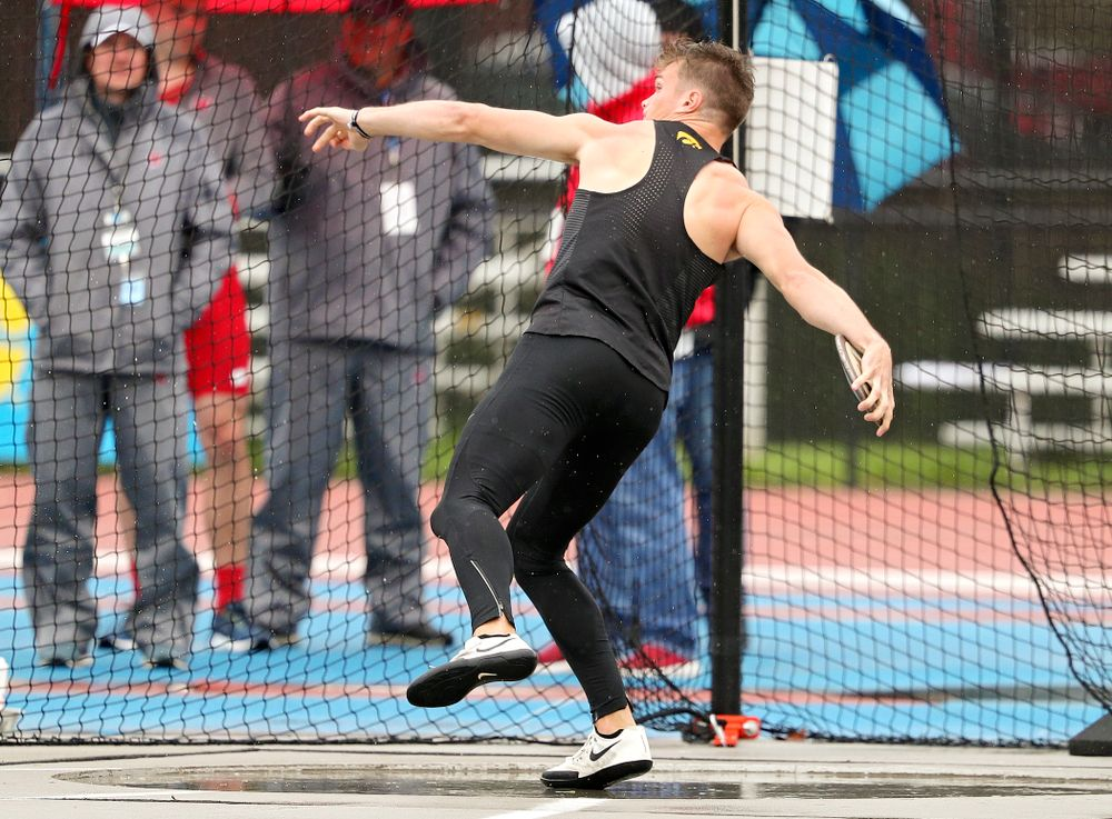 Iowa's Peyton Haack throws in the men's discus in the decathlon event on the second day of the Big Ten Outdoor Track and Field Championships at Francis X. Cretzmeyer Track in Iowa City on Saturday, May. 11, 2019. (Stephen Mally/hawkeyesports.com)