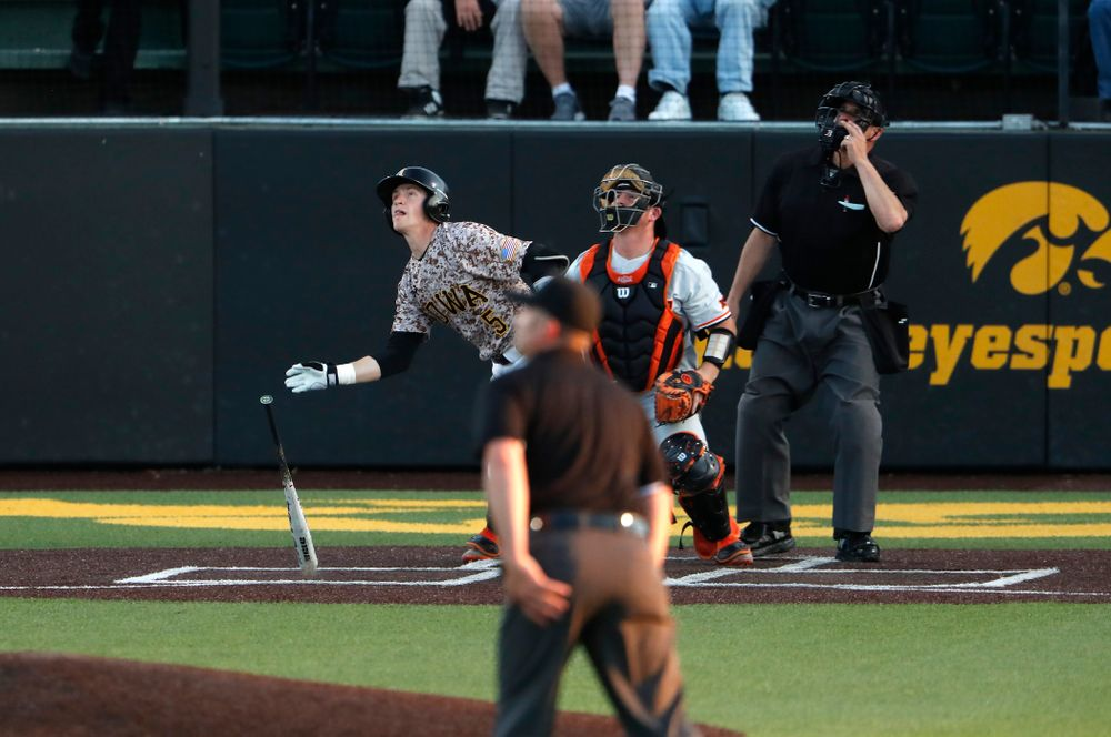 Iowa Hawkeyes catcher Tyler Cropley (5) hits a home run against Oklahoma State Friday, May 4, 2018 at Duane Banks Field. (Brian Ray/hawkeyesports.com)