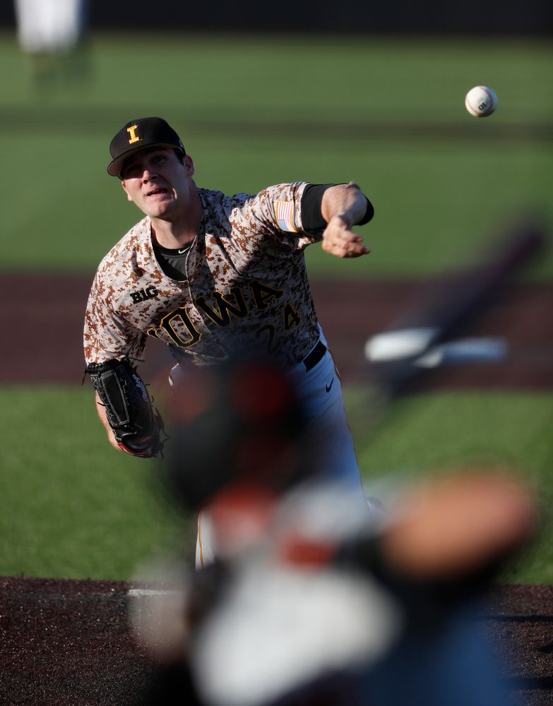 Iowa Hawkeyes pitcher Nick Allgeyer (24) during the Iowa Hawkeyes game against Oklahoma State Friday, May 4, 2018 at Duane Banks Field. (Brian Ray/hawkeyesports.com)