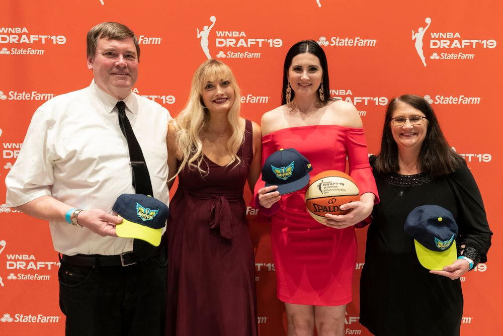 Iowa Hawkeyes forward Megan Gustafson (10) with her family after being selected by the Dallas Wings in the second round of the 2019 WNBA Draft Wednesday, April 10, 2019 at Nike New York Headquarters in New York City. (Brian Ray/hawkeyesports.com)