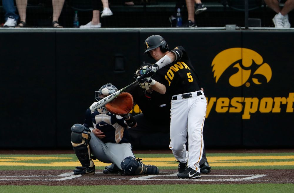 Iowa Hawkeyes catcher Tyler Cropley (5)  against the Penn State Nittany Lions Friday, May 18, 2018 at Duane Banks Field. (Brian Ray/hawkeyesports.com)