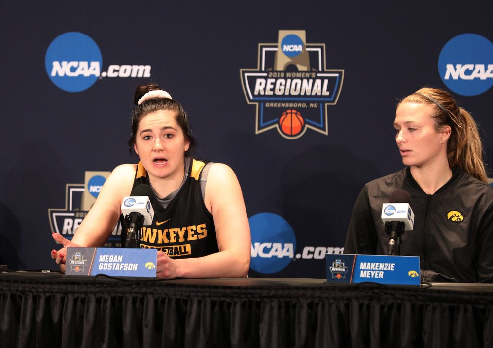 Iowa Hawkeyes forward Megan Gustafson (10) during practice and media before the regional final of the 2019 NCAA Women's College Basketball Tournament against the Baylor Bears Sunday, March 31, 2019 at Greensboro Coliseum in Greensboro, NC.(Brian Ray/hawkeyesports.com)