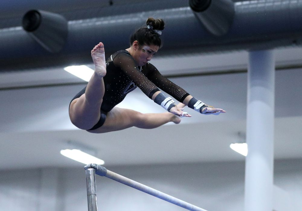Nicole Chow competes on the bars during the Black and Gold intrasquad meet Saturday, December 1, 2018 at the University of Iowa Field House. (Brian Ray/hawkeyesports.com)
