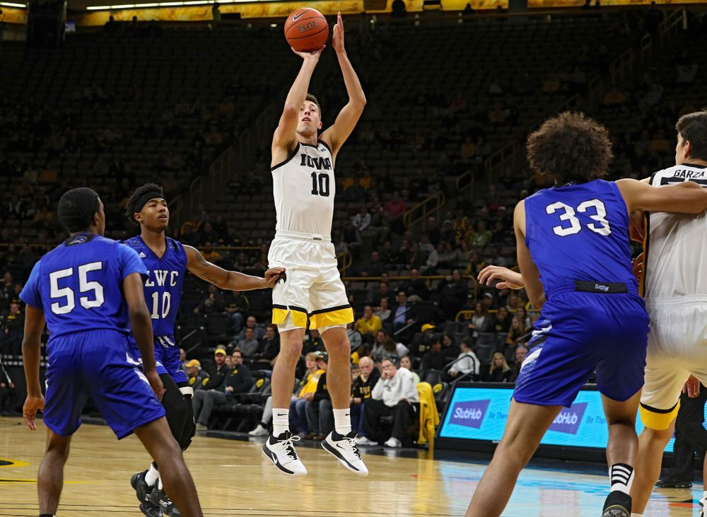 Iowa Hawkeyes guard Joe Wieskamp (10) puts up a shot during the first half of their exhibition game against Lindsey Wilson College at Carver-Hawkeye Arena in Iowa City on Monday, Nov 4, 2019. (Stephen Mally/hawkeyesports.com)