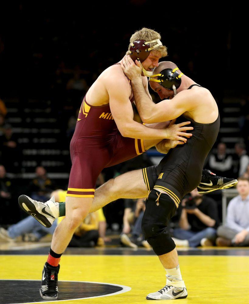 Iowa's Alex Marinelli wrestles Minnesota's Kasper McIntosh at 165 pounds Saturday, February 15, 2020 at Carver-Hawkeye Arena. Marinelli won the match by technical fall. (Brian Ray/hawkeyesports.com)