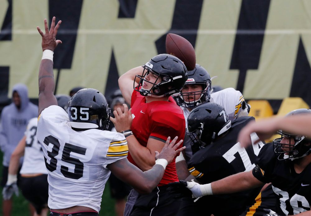 Iowa Hawkeyes quarterback Nathan Stanley (4) during camp practice No. 15  Monday, August 20, 2018 at the Hansen Football Performance Center. (Brian Ray/hawkeyesports.com)