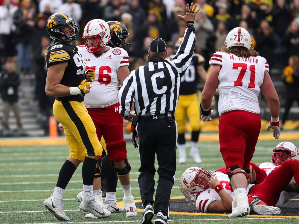 Iowa Hawkeyes defensive end Anthony Nelson (98) reacts after sacking the quarterback during a game against Nebraska at Kinnick Stadium on November 23, 2018. (Tork Mason/hawkeyesports.com)
