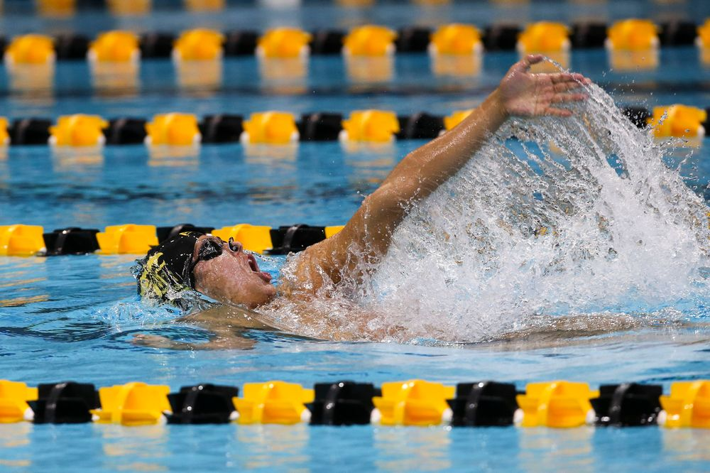 Iowa's Preston Planells during Iowa swim and dive vs Minnesota on Saturday, October 26, 2019 at the Campus Wellness and Recreation Center. (Lily Smith/hawkeyesports.com)
