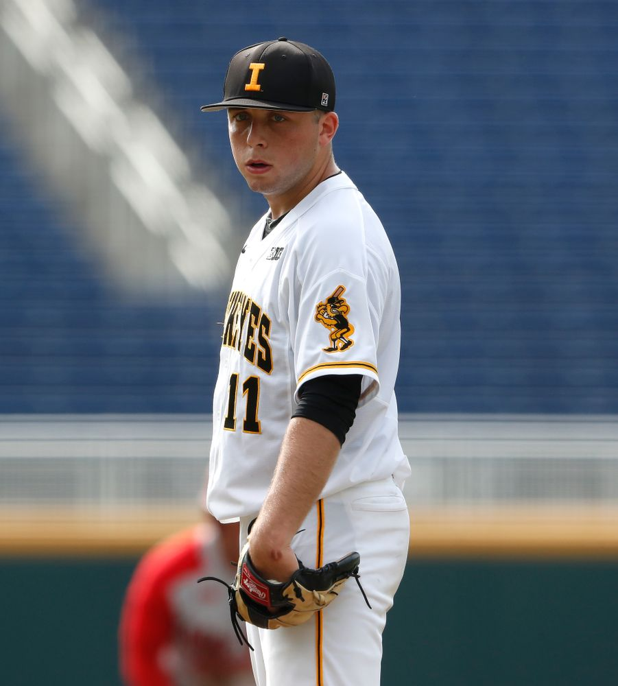 Iowa Hawkeyes pitcher Cole McDonald (11) against the Ohio State Buckeyes in the second round of the Big Ten Baseball Tournament  Thursday, May 24, 2018 at TD Ameritrade Park in Omaha, Neb. (Brian Ray/hawkeyesports.com)