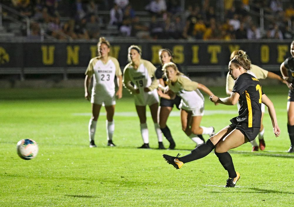 Iowa midfielder/defender Natalie Winters (10) scores a goal on a penalty kick during the second half of their match against Western Michigan at the Iowa Soccer Complex in Iowa City on Thursday, Aug 22, 2019. (Stephen Mally/hawkeyesports.com)
