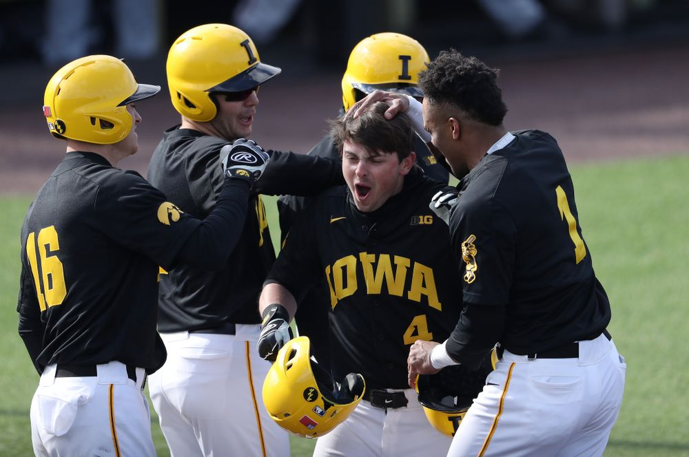 Iowa Hawkeyes infielder Mitchell Boe (4) against California State Northridge Sunday, March 17, 2019 at Duane Banks Field. (Brian Ray/hawkeyesports.com)
