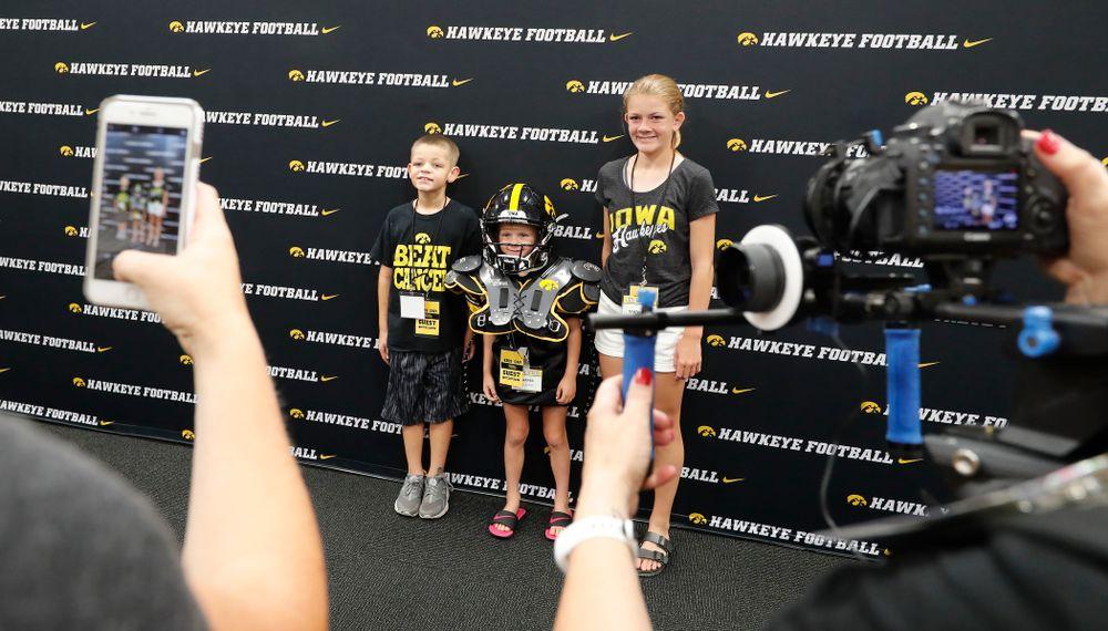 Kid Captain Harper Stribe during Kids Day Saturday, August 11, 2018 at Kinnick Stadium. (Brian Ray/hawkeyesports.com)