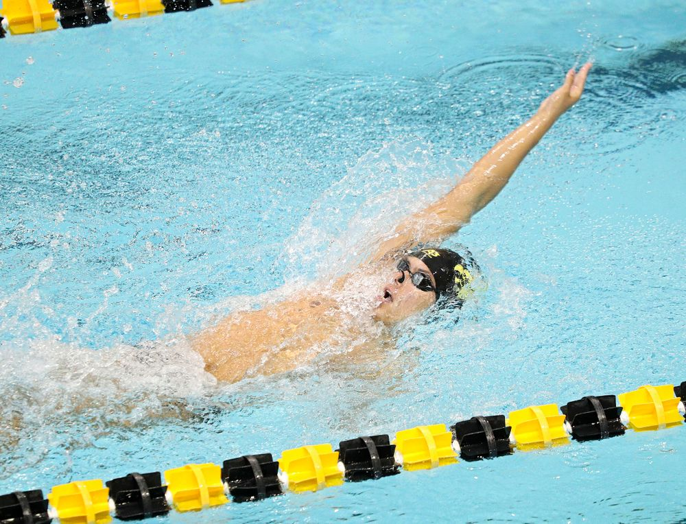 Iowa's Preston Planells swims the men's 200-yard backstroke event during their meet against Michigan State and Northern Iowa at the Campus Recreation and Wellness Center in Iowa City on Friday, Oct 4, 2019. (Stephen Mally/hawkeyesports.com)