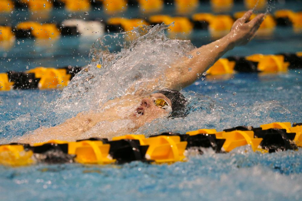 Iowa's Kenneth Meade at the 200-yard backstroke race  Saturday, March 2, 2019 at the Campus Recreation and Wellness Center. (Lily Smith/hawkeyesports.com)