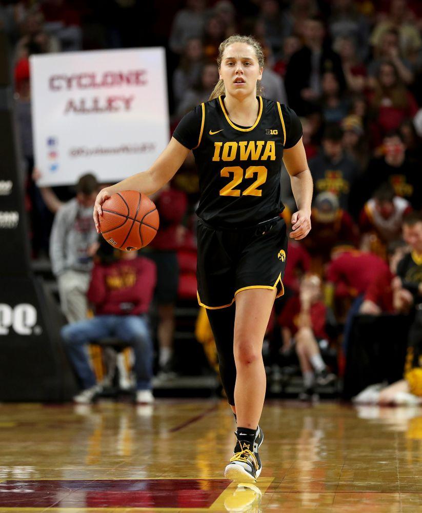 Iowa Hawkeyes guard Kathleen Doyle (22) against the Iowa State Cyclones Wednesday, December 11, 2019 at Hilton Coliseum in Ames, Iowa(Brian Ray/hawkeyesports.com)
