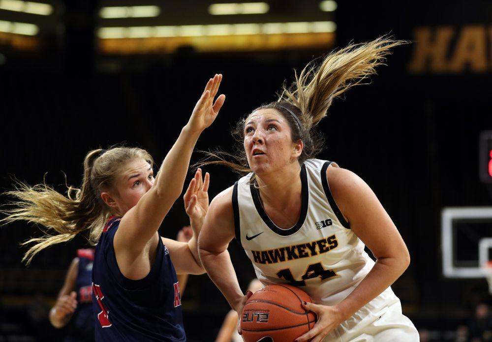 Iowa Hawkeyes forward McKenna Warnock (14) against Florida Atlantic University Thursday, November 7, 2019 at Carver-Hawkeye Arena. (Brian Ray/hawkeyesports.com)