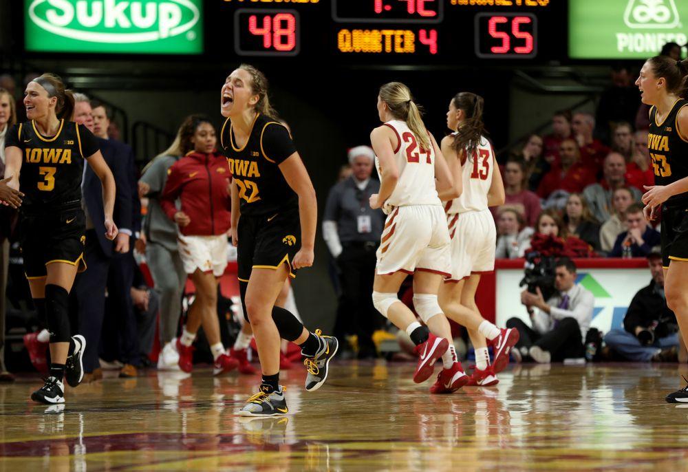 Iowa Hawkeyes guard Kathleen Doyle (22) celebrates against the Iowa State Cyclones Wednesday, December 11, 2019 at Hilton Coliseum in Ames, Iowa(Brian Ray/hawkeyesports.com)