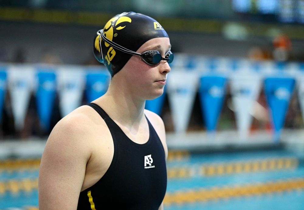 Iowa's Kelsey Drake waits to swim in the women's 200 yard butterfly preliminary event during the 2020 Women's Big Ten Swimming and Diving Championships at the Campus Recreation and Wellness Center in Iowa City on Saturday, February 22, 2020. (Stephen Mally/hawkeyesports.com)