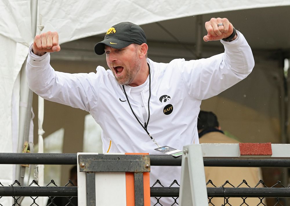 Iowa Director of Track and Field Joey Woody celebrates after Chris Douglas (not pictured) won the men's 400 meter hurdles event on the third day of the Big Ten Outdoor Track and Field Championships at Francis X. Cretzmeyer Track in Iowa City on Sunday, May. 12, 2019. (Stephen Mally/hawkeyesports.com)