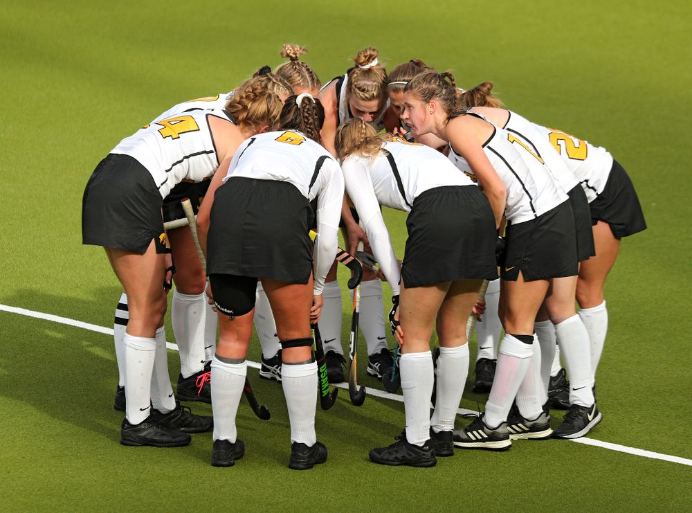 The Hawkeyes huddle before a penalty corner during the third quarter of their NCAA Tournament Second Round match against North Carolina at Karen Shelton Stadium in Chapel Hill, N.C. on Sunday, Nov 17, 2019. (Stephen Mally/hawkeyesports.com)