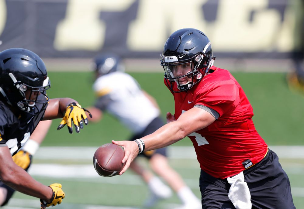 Iowa Hawkeyes quarterback Nathan Stanley (4) during practice No. 7 of fall camp Friday, August 10, 2018 at the Kenyon Football Practice Facility. (Brian Ray/hawkeyesports.com)