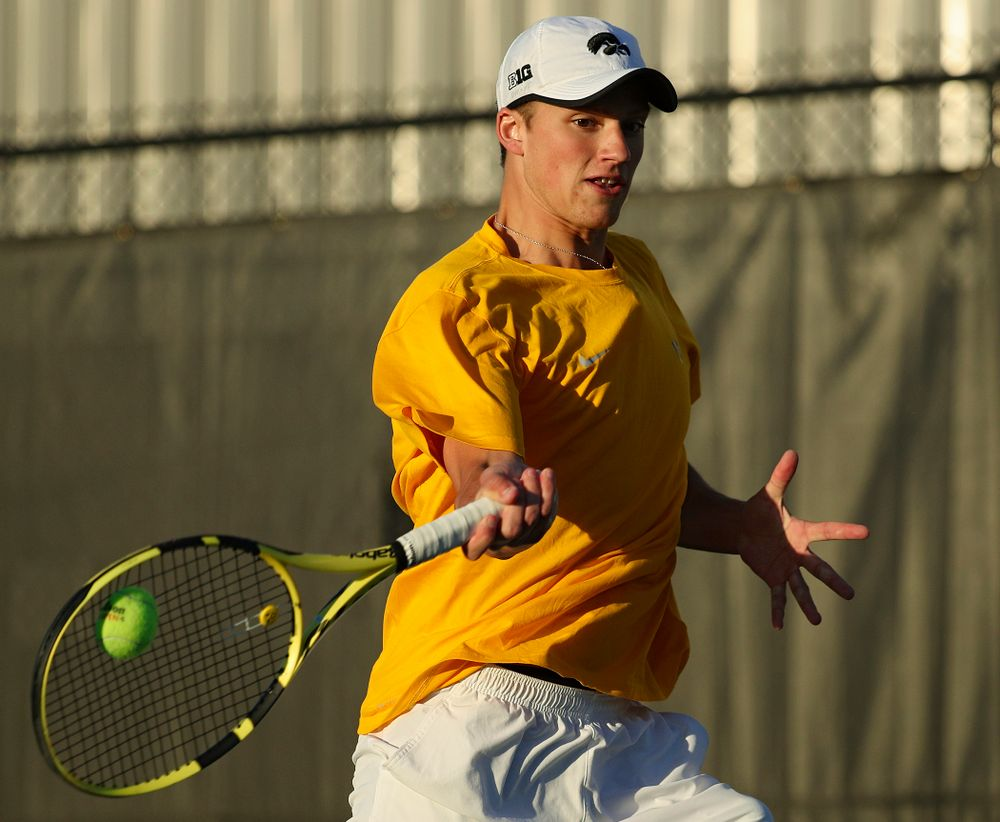 Iowa's Joe Tyler during his match again Michigan State at the Hawkeye Tennis and Recreation Complex in Iowa City on Friday, Apr. 19, 2019. (Stephen Mally/hawkeyesports.com)